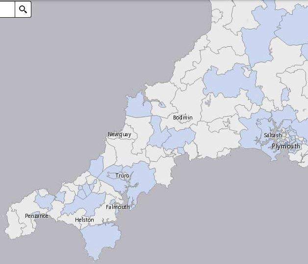 The cluster map shows little change, with Lelant and Carbis bay joining the picture but the number of cases falling back on The Lizard